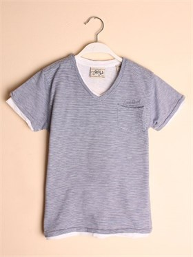 Scotch & Soda 2 in 1 T-Shirt - Mavi-Beyaz