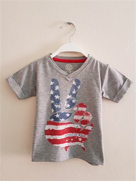 State of Kids Baskılı Gri T-Shirt - USA